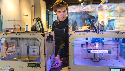 working with a Maker-bot 3-D printer