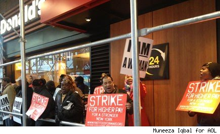 Fast Food workers strike on anniversary of Martin Luther King Jr's assassination.
