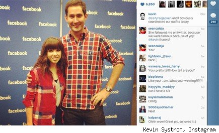Carly Rae Jepson and Kevin Systrom at the Facebook headquarters