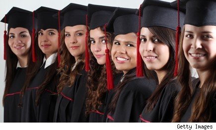 women college graduates in caps and gowns