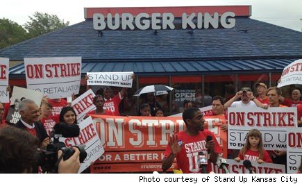 Fast food workers protest for improved in conditions in Kansas City.