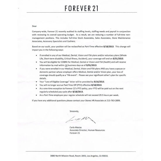 Leaked Memo Shows Forever 21 Demoting Full-Timers To Part-Time