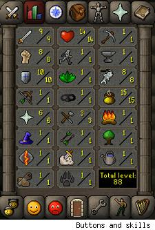 RuneScape buttons and skills