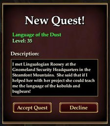 Language of the Dust quest pane