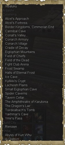 Cimmeria zone list