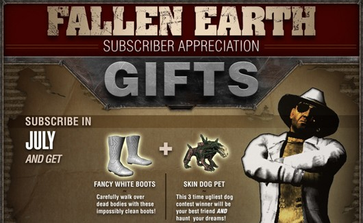 Fallen Earth subscriber appreciation gifts detailed
