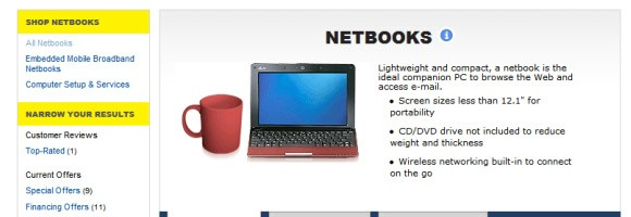 Netbooks section of Best Buy