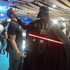 Darth Vader choking someone