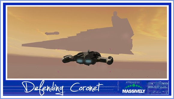 Star Wars Galaxies - Nova Courier attacking Star Destroyer