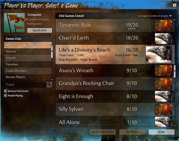 Guild Wars 2: PvP browser