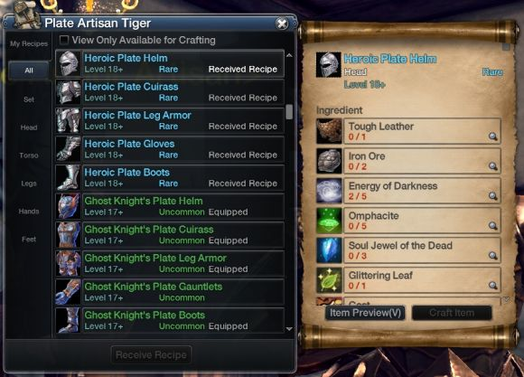 RaiderZ crafting window screenshot