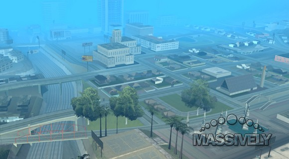 Multi Theft Auto - Downtown Los Santos from the air