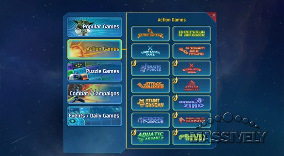 Clone Wars Adventures - Action game menu