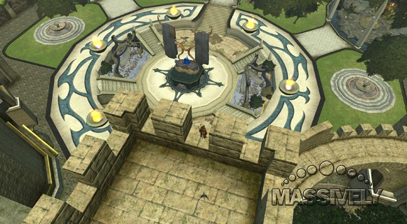 EverQuest II - Guild castle courtyard, yes you can decorate all that space