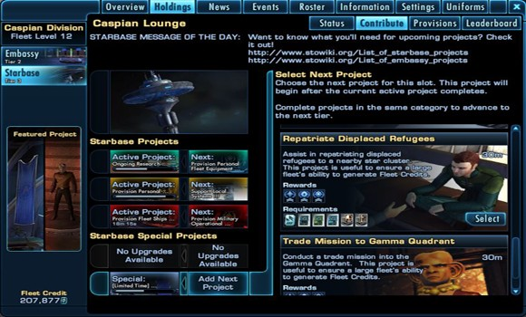 STO fleet project selection page