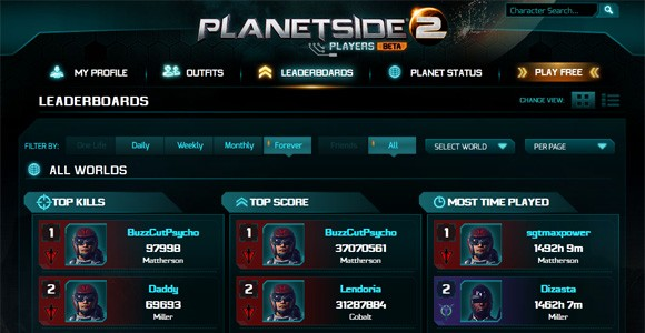 PlanetSide 2's players site