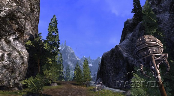 Darkfall mage staff and mountains