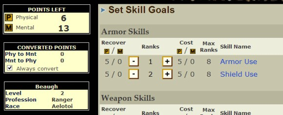 Gemstone IV skills window