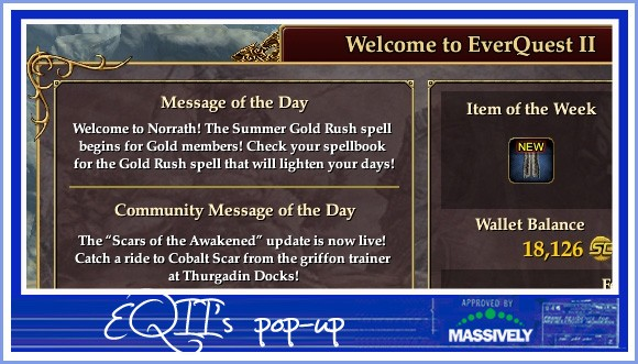 EQII's pop-up messageboard