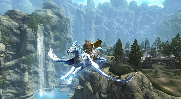 A Heroic Character on a flying mount  in EverQuest II