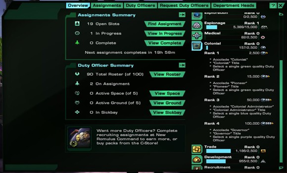 STO KDF Colonial reward breakdown