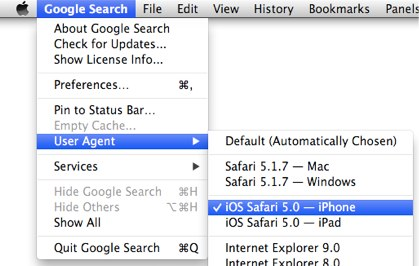 [screenshot of Fluid Browser User agent settings]