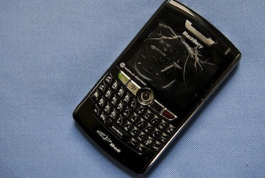 Picture of a broken BlackBerry