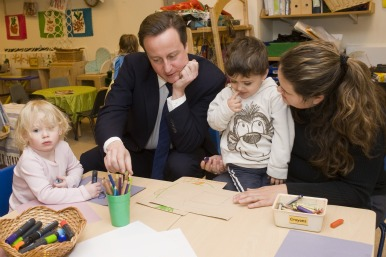 David cameron with young children