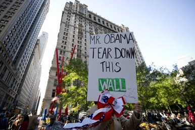 Protestor's sign on Wall Street