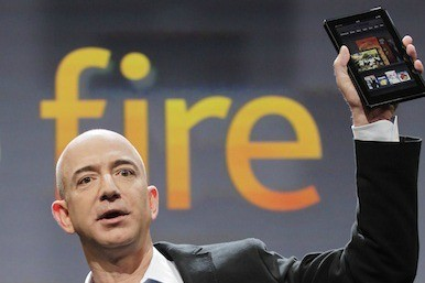 Picture of Amazon's Jeff Bezos and Kindle Fire
