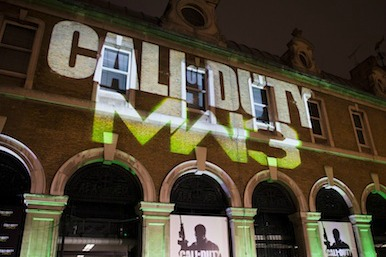 Picture of the Call of Duty logo projected onto a wall
