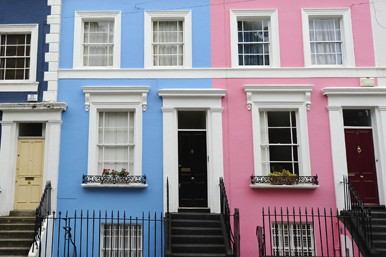 pink and blue terraced houses