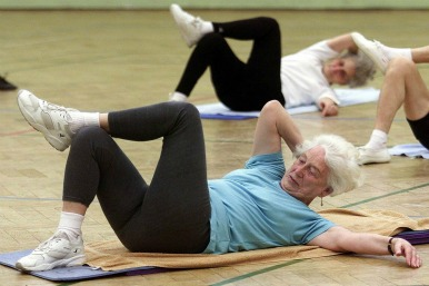 Old ladies exercising