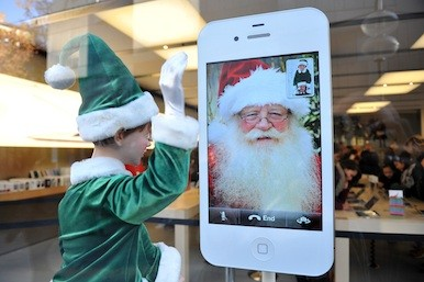 Picture of Santa on an iPhone