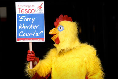 man dressed as a chicken with Placard telling Tesco