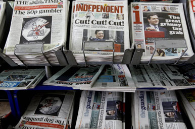 Newspaper headlines for the Budget