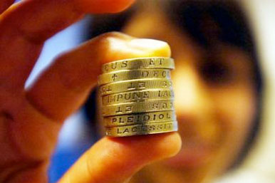 coins in fingers