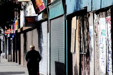 high street of closed shops