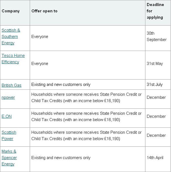 What the energy companies are offering. Here's a breakdown of what's on  offer by company and the deadlines for applying: