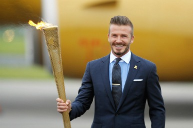 David Beckham at torch ceremony