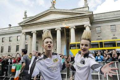 Jedward with Olympic torch