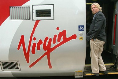 Virgin train with Richard Branson