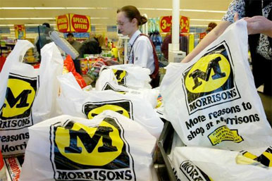 Morrisons plastic bags at checkout