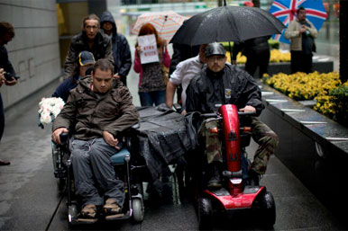 Wheelchair user protesters
