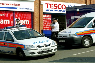 Police outside a Tesco