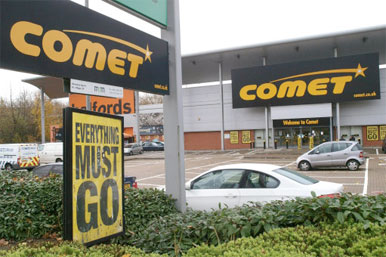 Comet shop sign - everything must go