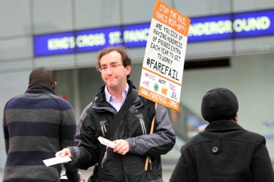Rail fare protest