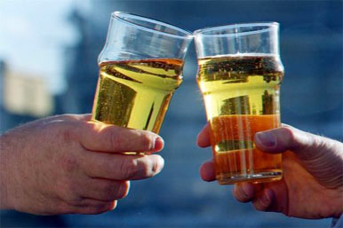 toasting with cider