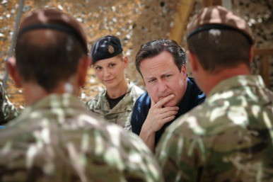 David Cameron with soldiers in Afghanistan