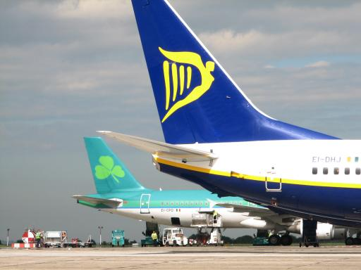 The tails of Aer Lingus and Ryanair planes